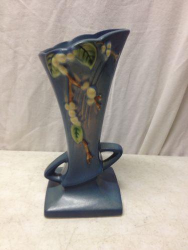 Vintage Blue Roseville Pottery 1V1-7 Double Handle Bud Vase Snowberry
