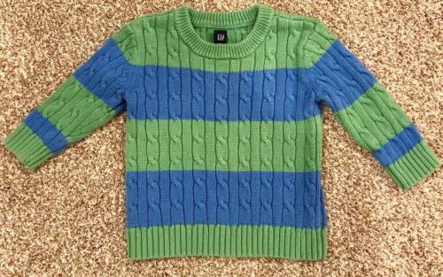 Sweater Baby Gap Boys Toddler 18-24 Months Pull Over Green Blue