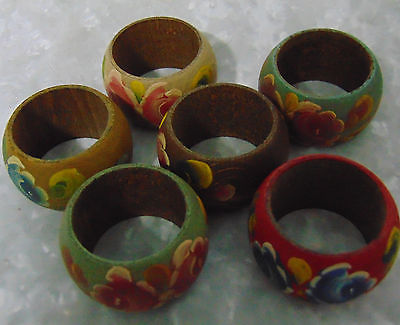 NEW Set (6) Wooden NAPKIN RINGS HOLDERS Round Painted Flowers Multi Color Wood!