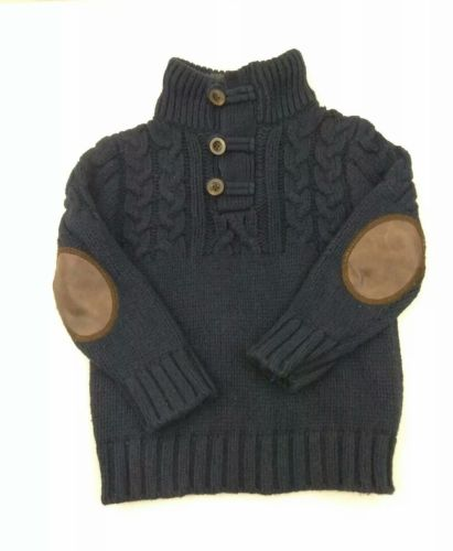 Baby Gap Boys Size 2T Sweater Shawl Collar Elbow Patches Navy Blue Pullover