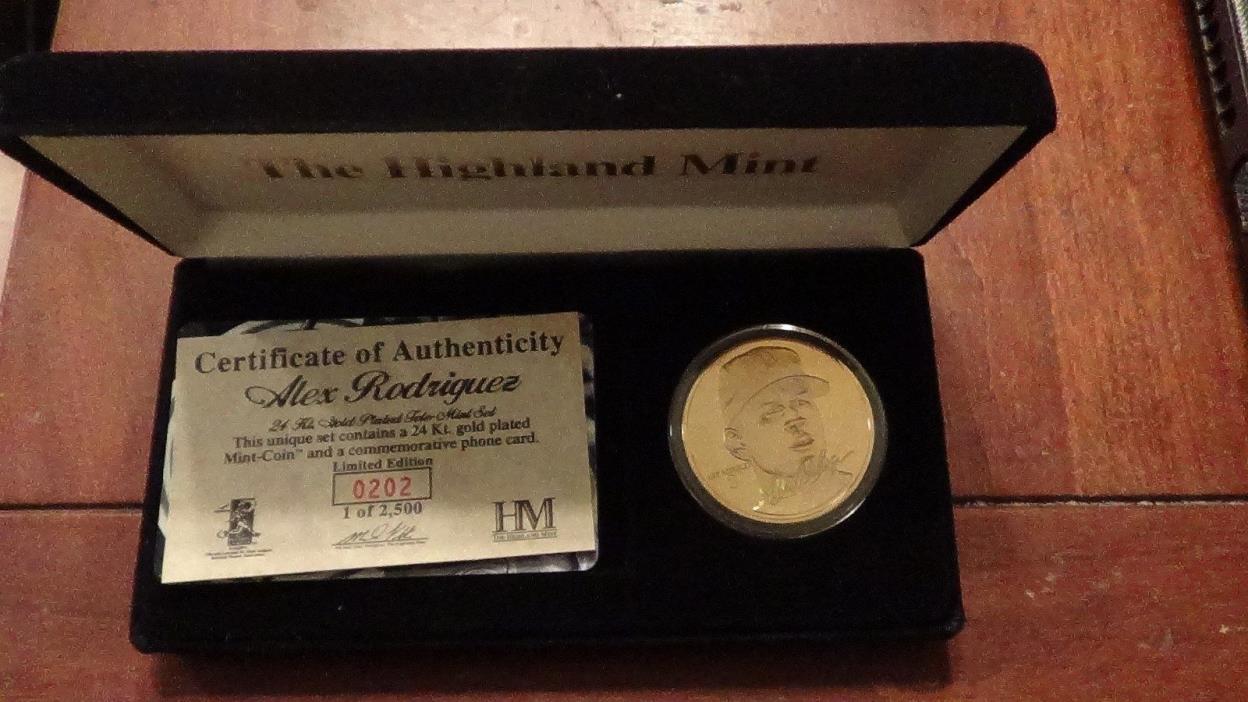 ALEX RODRIGUEZ HIGHLAND MINT 24KT GOLD PLATED TELE-MINT SET