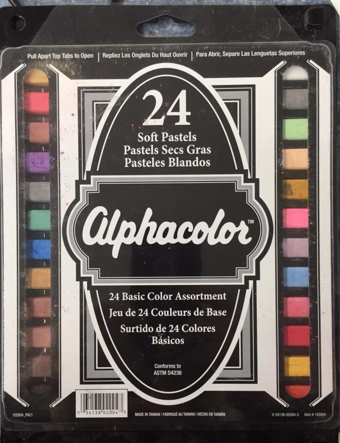 NEW!  Alphacolor 24 Pc Soft Pastels Sets: Basic Color Assortment- FREE SHIPPING