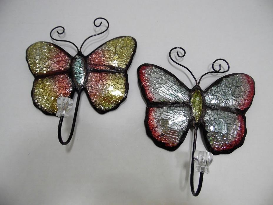 Mosaic Glass Butterfly Hanger Hooks Set of 2 Colorful Decorative Butterflies