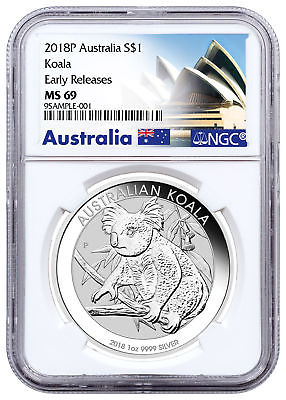 2018-P Australia 1 oz Silver Koala $1 NGC MS69 ER Exclusive PRESALE SKU52179