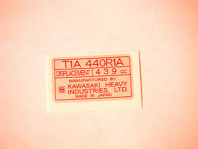 Vintage Arctic Cat T1A 440R1A Kawasaki Red Tag Engine Decal
