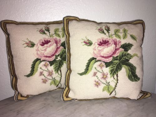 RARE VINTAGE ANTIQUE EXCELLENT NEEDLEPOINT PILLOW PILLOWS PAIR SET ROSES FLORAL