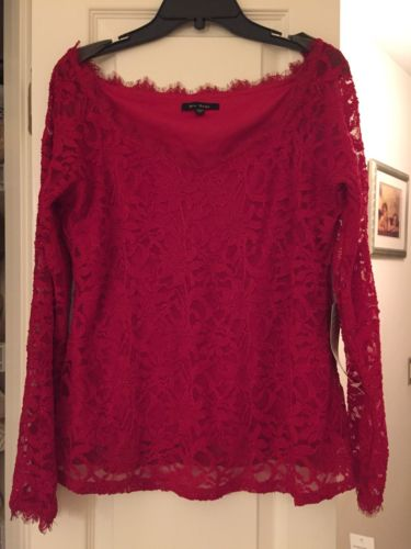 Blu Sage Red V Neck Long Sleeve Lace Top XL