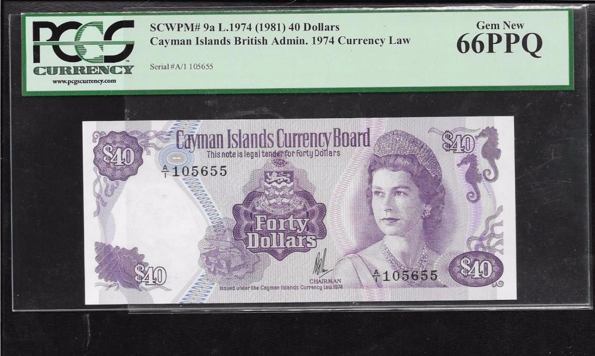L1974 - (1981)  P-9a Cayman Islands QE II $40 dollars PCGS66 PPQ