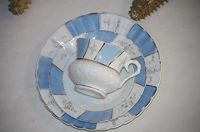 Tea Cup and Saucer Trio Plate Antique Blue White Old Paris Sculpted Cup French