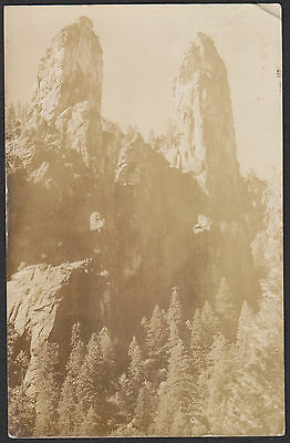 Yosemite National Park-Real Photo-Cathedral Spires-Vintage Postcard