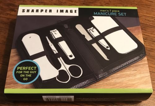 Sharper Image Men's 7 Piece Manicure Set NEW Travel Set Leather Texture Case