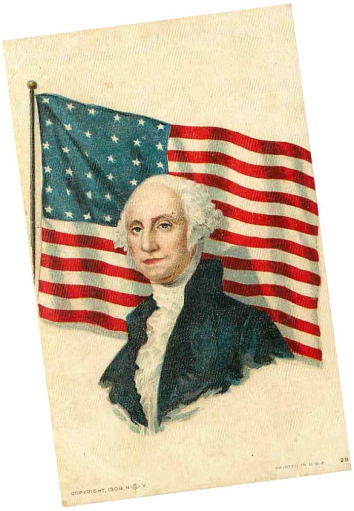 Patriotic Postcard George Washington & American Flag - circa 1909