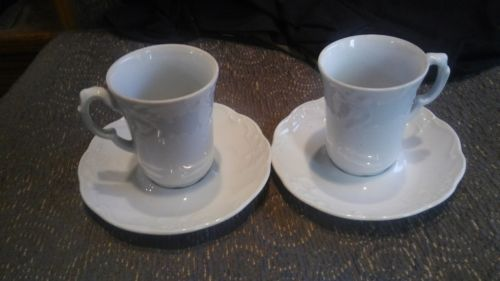 SET OF 2 JAPANESE DEMATISSE CUPS AND SAUCERS