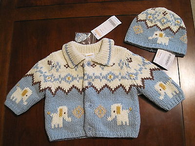 New NWT Gymboree Boy Blue Ivory Cotton Elephant Cardigan Sweater + Hat 3-6 month