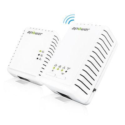 APOWER Homeplug AV2 600Mbps WiFi Range Extender with Powerline adapter (G750KIT)
