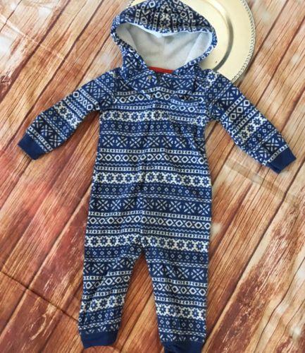 Carter's Infant Fleece Hooded Jumpsuit 24 Months Boys Nordic Print