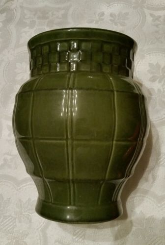 Green Ceramic Basketweave Vase American Atelier at Home Ironstone Seville #5243