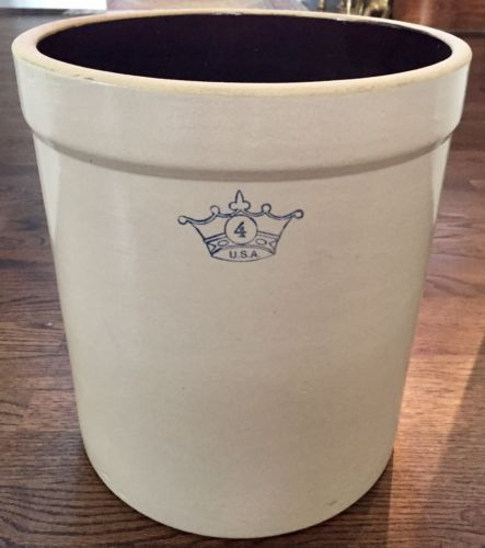 Vintage 4 Gallon Robinson Ransbottom USA Crown Stoneware Crock Excellent