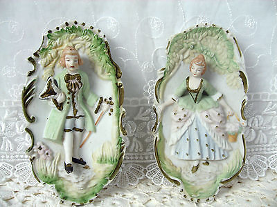 Vintage Fairyland China Pair Bisque Wall Plaques Made in Japan 7.25