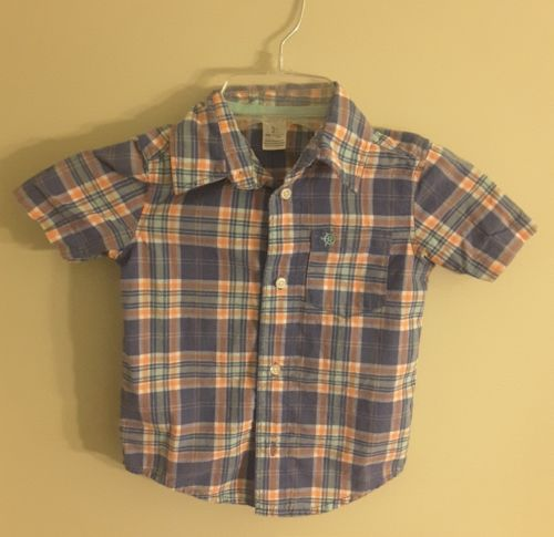 YOUNG BOYS SIZE 3T CARTER 100% COTTON BUTTON DOWN SHORT SLEEVE SHIRT, CLEAN