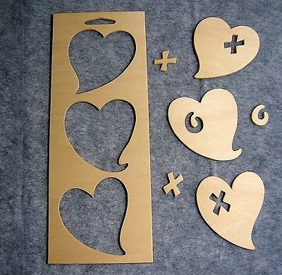 Unfinished Wood Frames & Punchout Shapes for Painting & Crafts - Funky Hearts