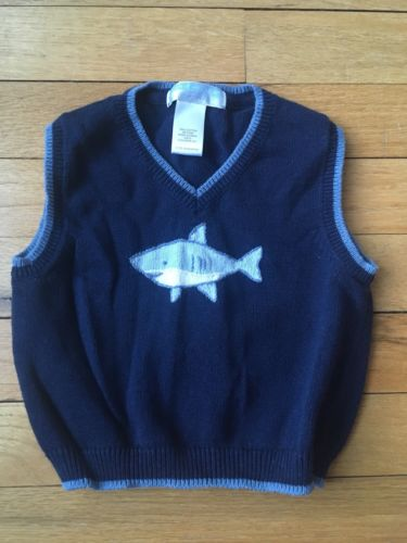 Janie And Jack Navy Cotton Sweater Vest With Knitted Shark 12-18 Months NWOT