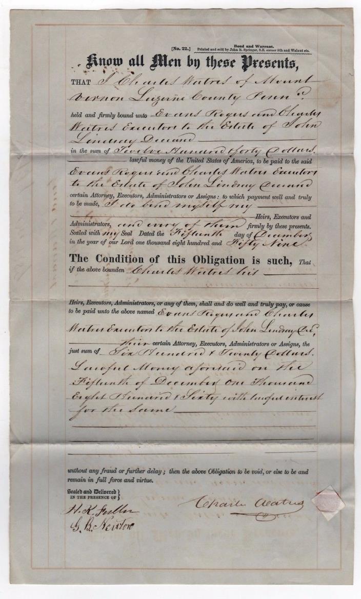 1859 PENNSYLVANIA Legal Document LUZERNE COUNTY Mount Vernon PA PENN Warrant