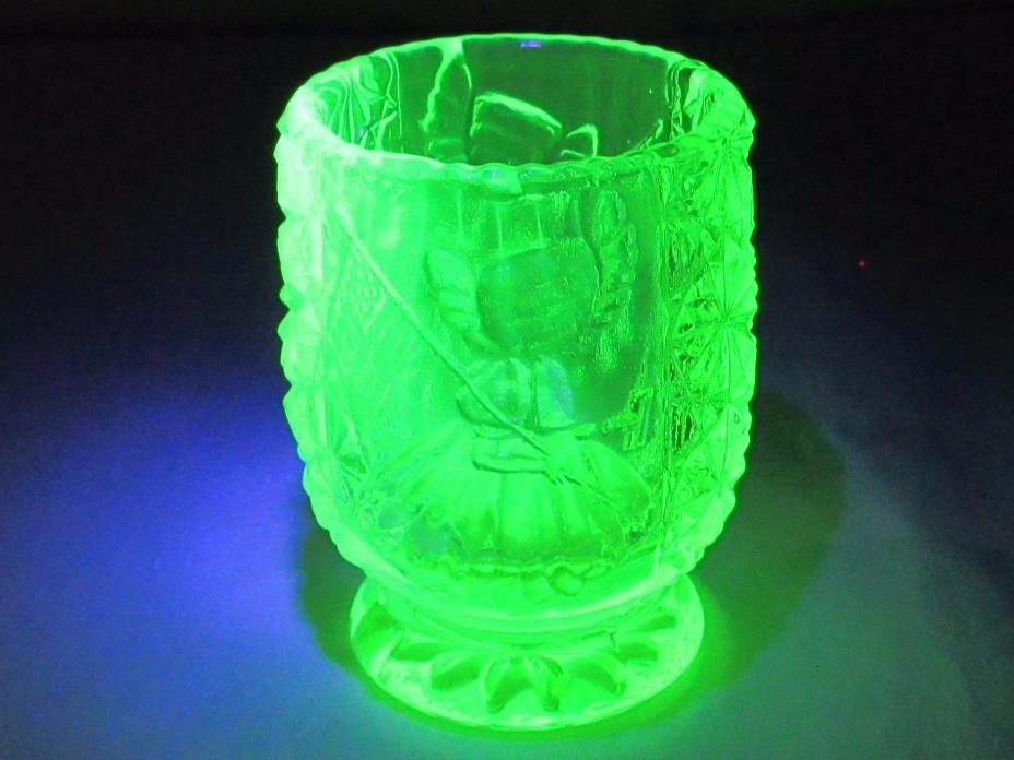 Vaseline Glass Toothpick Holder Betsy Ross+Flag,Daisy & Button #48 GLOWS