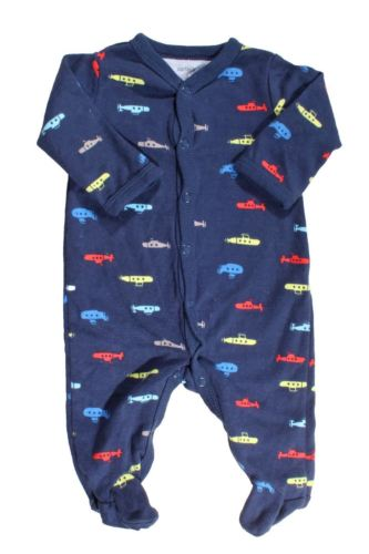 Carter's Baby's Navy Submarine Snap Button Footed Pajamas Size 3mo