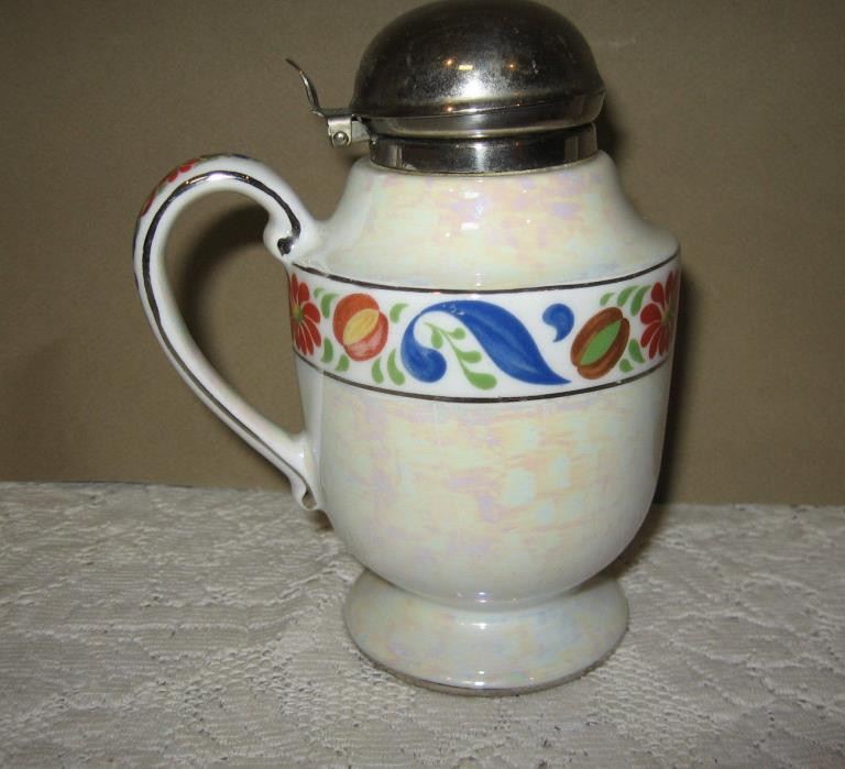 Vintage Fraunfelter China White Lusterware Royal Rochester Syrup Pitcher