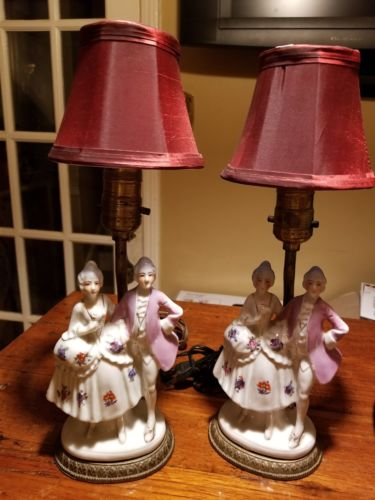 2 Vintage Victorian Porcelain Courting Couple Hand Painted Figurine Table Lamps