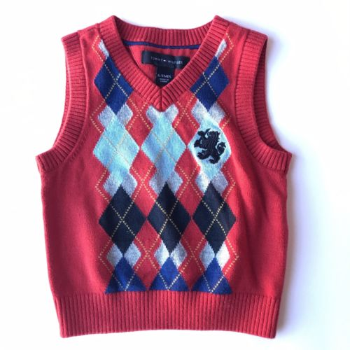 Tommy Hilfiger Baby Boys Christmas Sweater Vest Size 6-9M Red Argyle Holiday