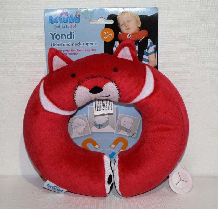 NWT TRUNKI YONDI KIDS HEAD & NECK SUPPORT TRAVEL PILLOW RED FELIX FOX 2-5 YRS
