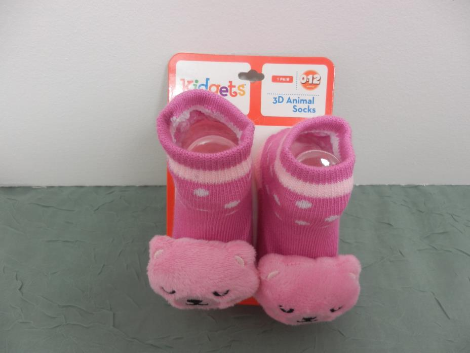 Kidgets 3D Animal Socks Baby Booties Pink Kitty Bear  0-12 Months-1pr REF#S131