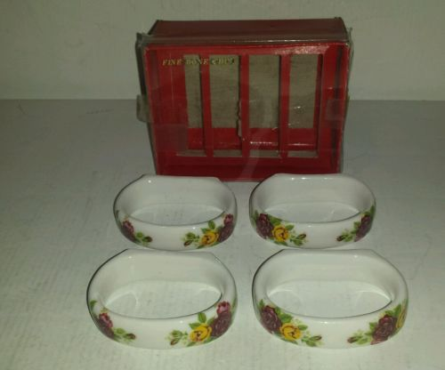 VTG FINE BONE CHINA COTTAGE ROSE CERAMIC NAPKIN HOLDER RINGS WITH ORIGINAL BOX