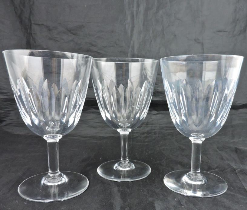 VINTAGE BACCARAT CRYSTAL WINE GLASS CUT CLEAR SET 3 STEMWARE FRANCE SIGNED