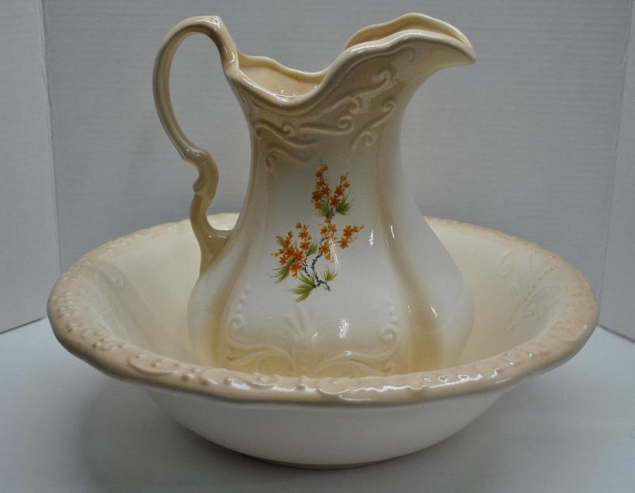 Vintage Ironstone USA Tan Floral Pitcher and Basin Bowl Carafe Jug