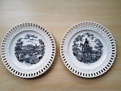 Set of 2 decorative antique plates France, circa