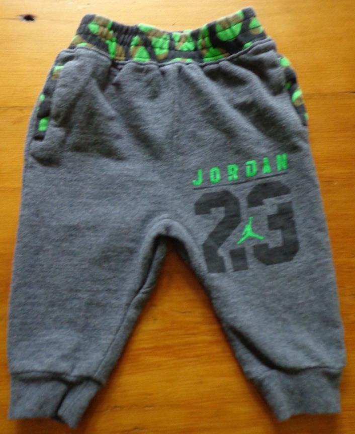 Nike Air Jordan Baby Boy Jogging Pants Gray w/ Bright Green 23 Infant 6-9 Months
