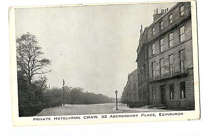 Old post card postcard UK Private Hotel MRS. Craw Edinburgh