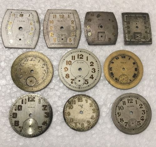 Lot of 10 Elgin Wrist Watch Dials Parts Largest Round Shaped 27mm