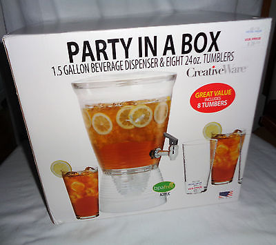 CreativeWare Party in a Box - 1.5 gal Beverage Dispenser w/8 - 24oz tumblers NIB