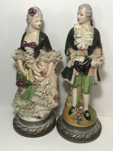 "Vintage-Antique Victorian Couple Figurine Porcelain Lace French Paris 16"" Tall"