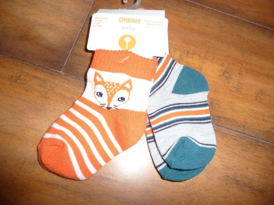 NEW NWT Gymboree boys 3-6 months Forest Fox 2 pack fox/stripe socks