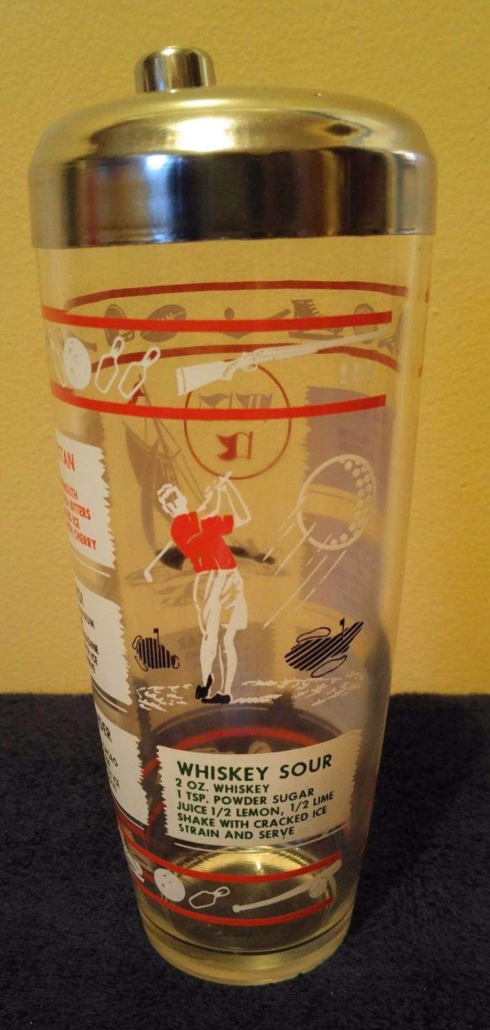 Vintage sports theme glass shaker chrome top every thing is great condition