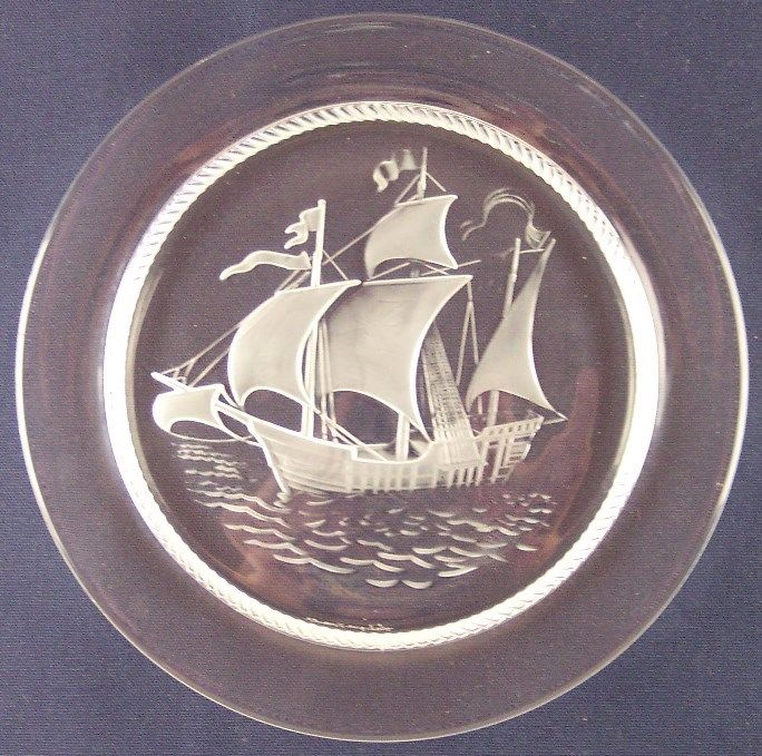 MINT Lalique France Santa Maria Tall Ship Nautical 8.5