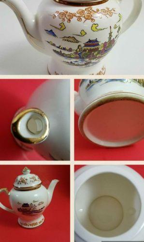 Vintage Porcelain Teapot  Asian motif