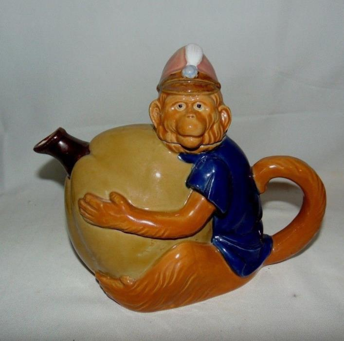 Nouveau Majolica Monkey Holding Pumpkin Teapot