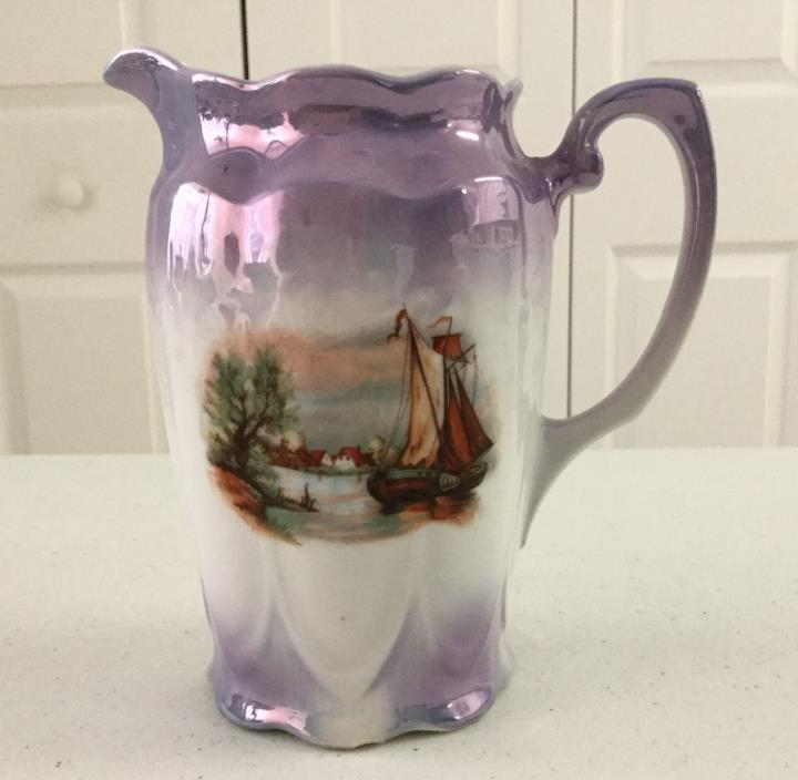 Antique porcelain Purple Luster Ware Pitcher Fishing Boat Scene Europe 6 1/2