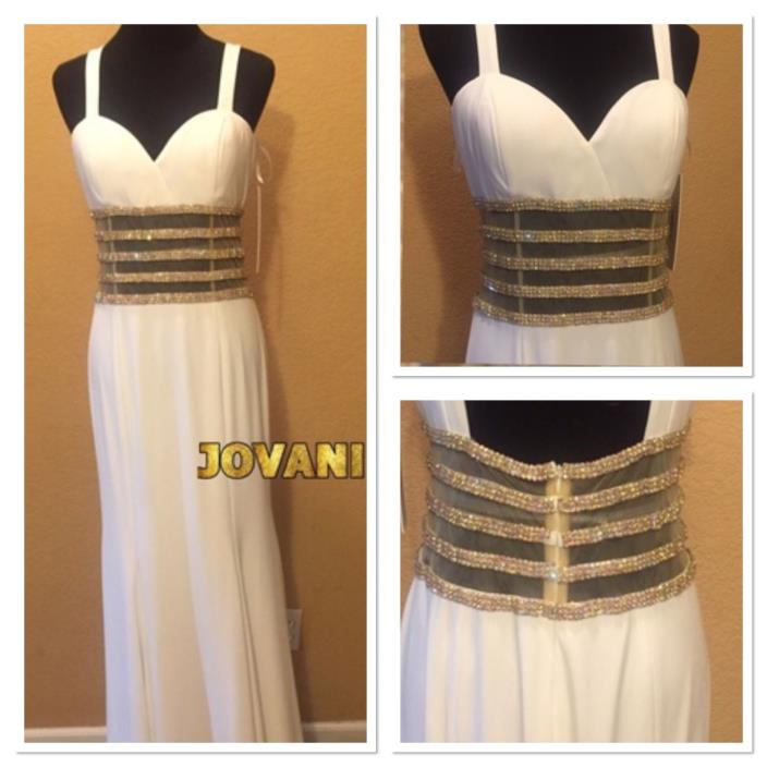 NWT Sz 12 Jovani Off White and Gold Beaded Full Length Gown MSRP $565 Prom